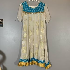 Vintage Indian dress flowy with gold and blue